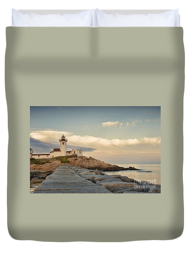 America Duvet Cover featuring the photograph Eastern Point Lighthouse by Juli Scalzi