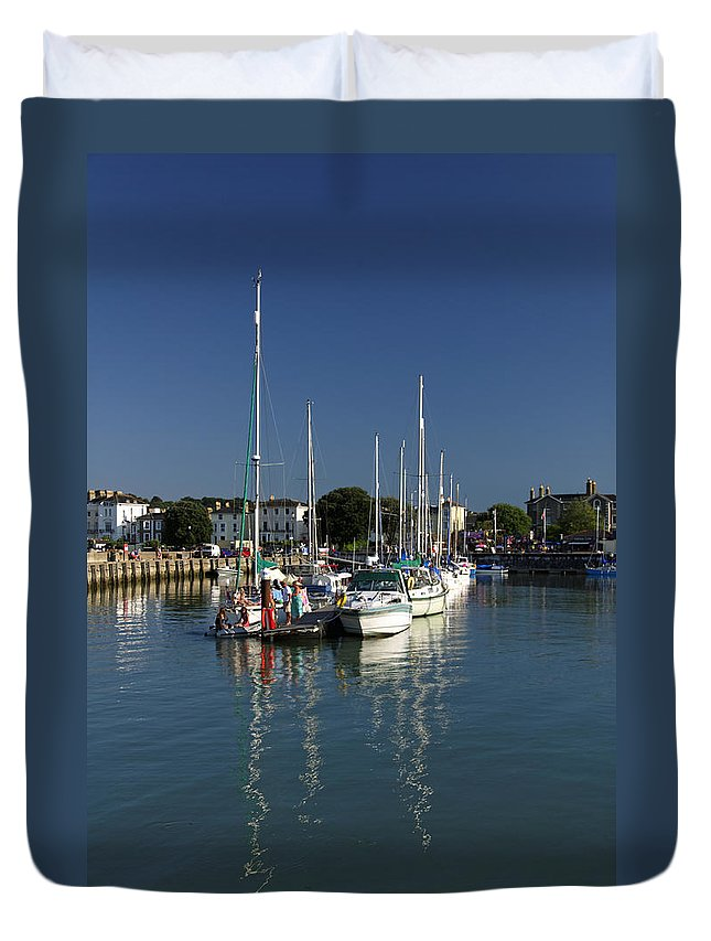 Britain Duvet Cover featuring the photograph Eastern Side Moorings - Ryde Harbour by Rod Johnson