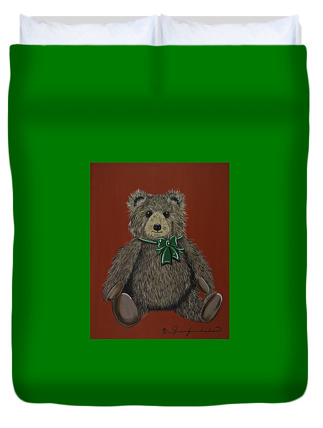 Teddy Bear Duvet Cover featuring the painting Easton's Teddy by Jennifer Lake