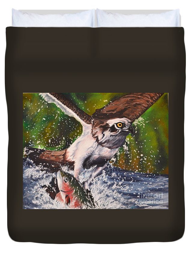 Wildlife Duvet Cover featuring the pastel Easy Catch by John Huntsman
