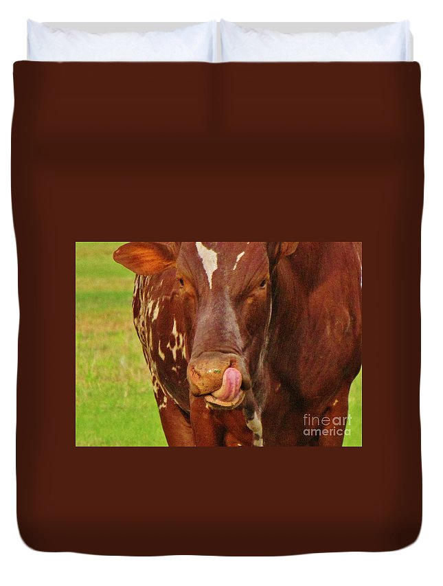 Cow Duvet Cover featuring the photograph Eat More Greens by Keri West