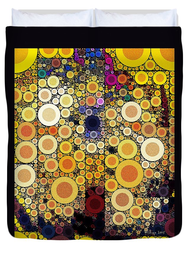 Colorful Duvet Cover featuring the digital art Eating Humble Pie I by Mike Butler