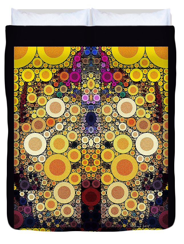 Colorful Duvet Cover featuring the digital art Eating Humble Pie II by Mike Butler