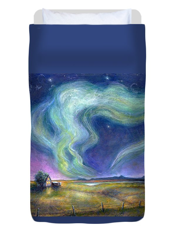 Night Sky Duvet Cover featuring the painting Echoes In The Sky by Retta Stephenson