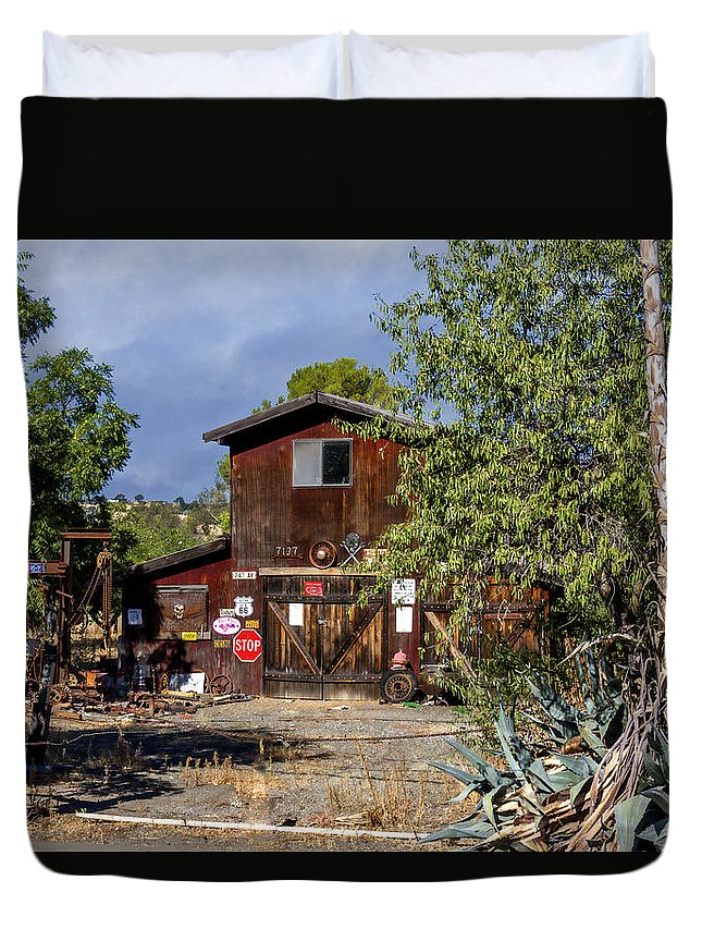 Landscape Duvet Cover featuring the photograph Eclecktic Building Signs by Bruce Bottomley