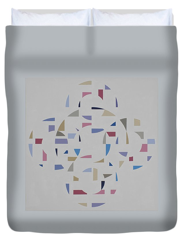 Abstract Geometric Optic Painting Duvet Cover featuring the painting Ecliptic #2 by Marston A Jaquis