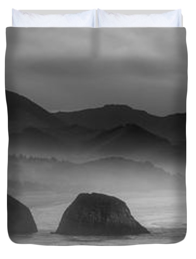 haystack Rock Duvet Cover featuring the photograph Ecola State Park - Oregon State Coast by Daniel Hagerman