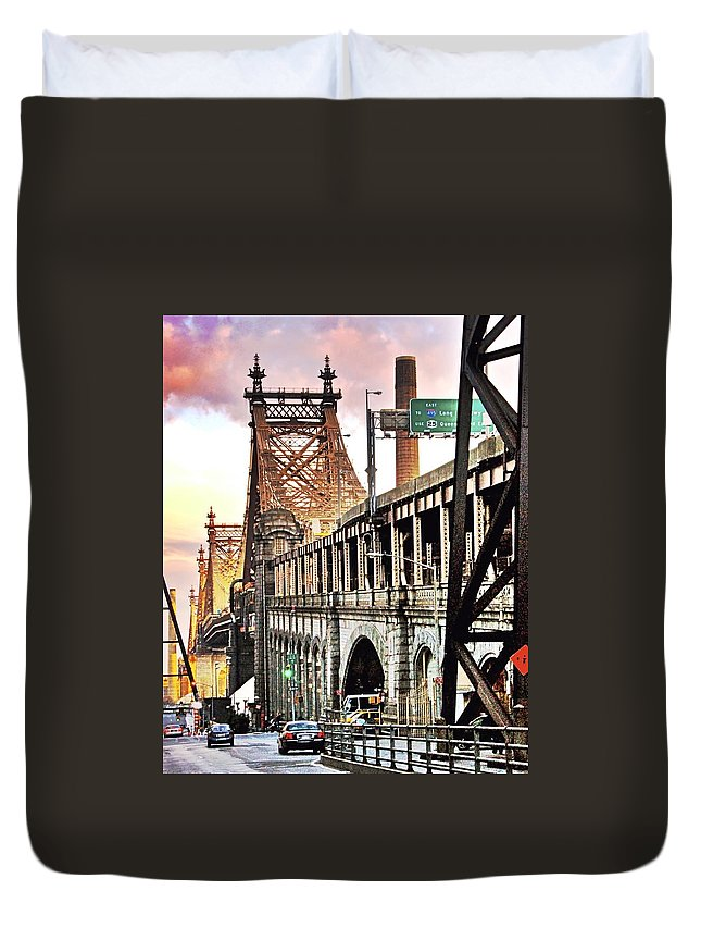 New York Duvet Cover featuring the photograph Queensboro Bridge by Re Dub