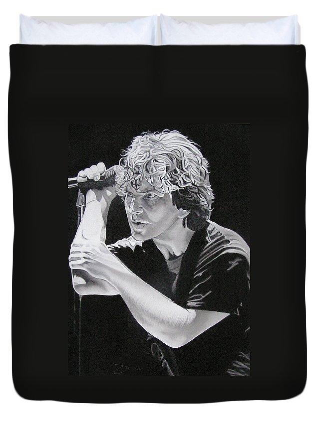 Eddie Vedder Duvet Cover featuring the drawing Eddie Vedder by Joshua Morton