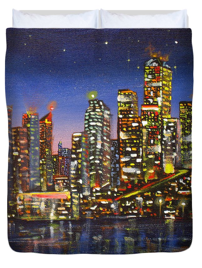 Architecture Duvet Cover featuring the painting Edmonton Night Lights by Mohamed Hirji