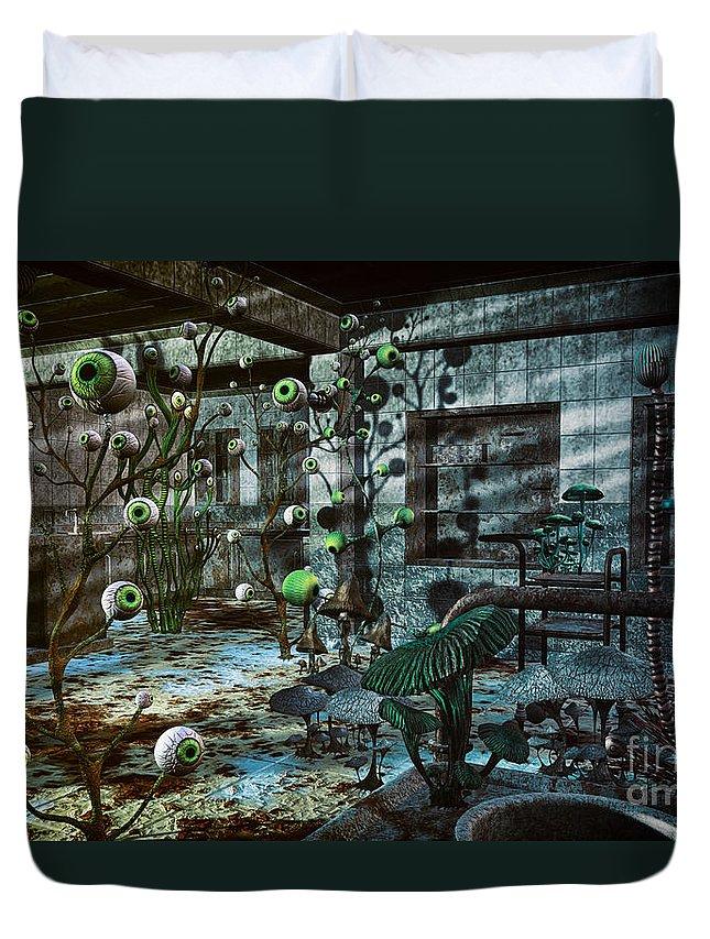 3d Duvet Cover featuring the digital art Eerie Location by Jutta Maria Pusl