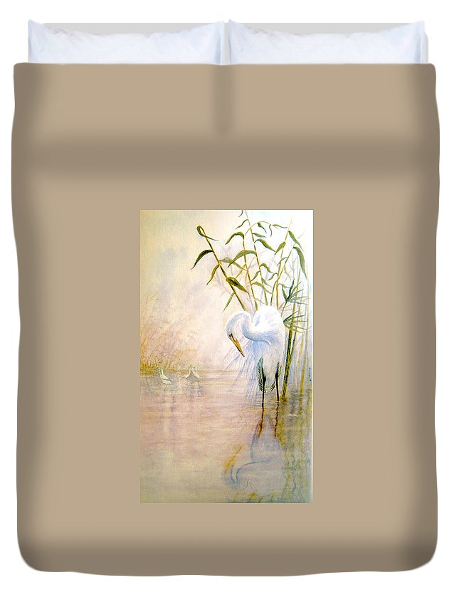 Eret; Bird; Low Country Duvet Cover featuring the painting Egret by Ben Kiger