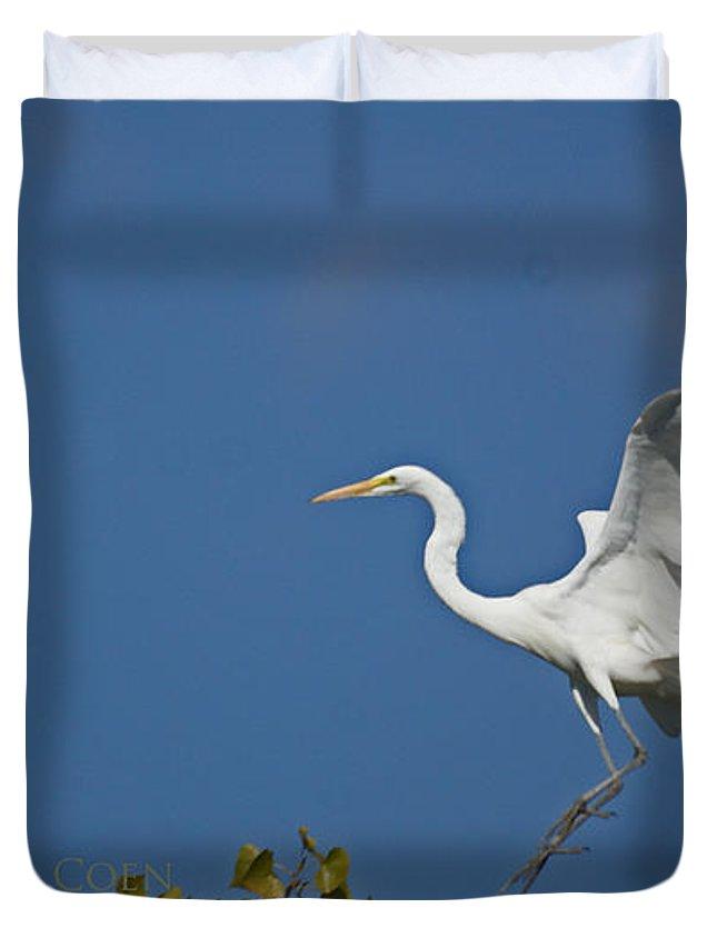 Egret Duvet Cover featuring the photograph Egret Landing by Heather Coen