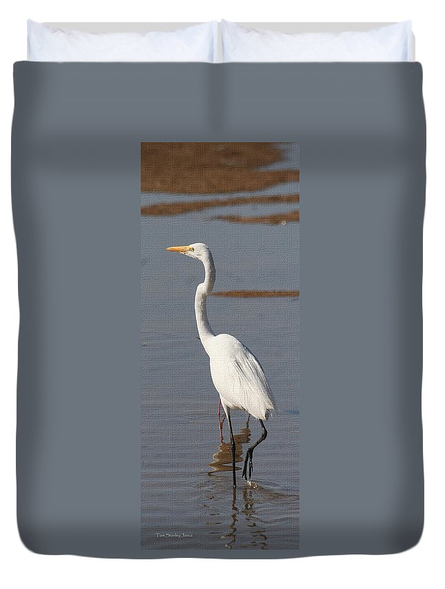 Egret Out Fishing Duvet Cover featuring the photograph Egret Out Fishing by Tom Janca