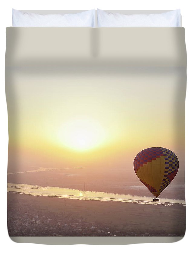 Luxor Duvet Cover featuring the photograph Egypt, View Of Hot Air Balloon Over by Westend61