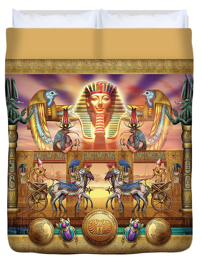Authority Duvet Cover featuring the digital art Egyptian by MGL Meiklejohn Graphics Licensing