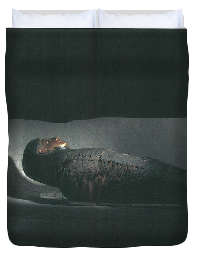 Duvet Cover featuring the photograph Egyptian Mummy by Rachel Pries