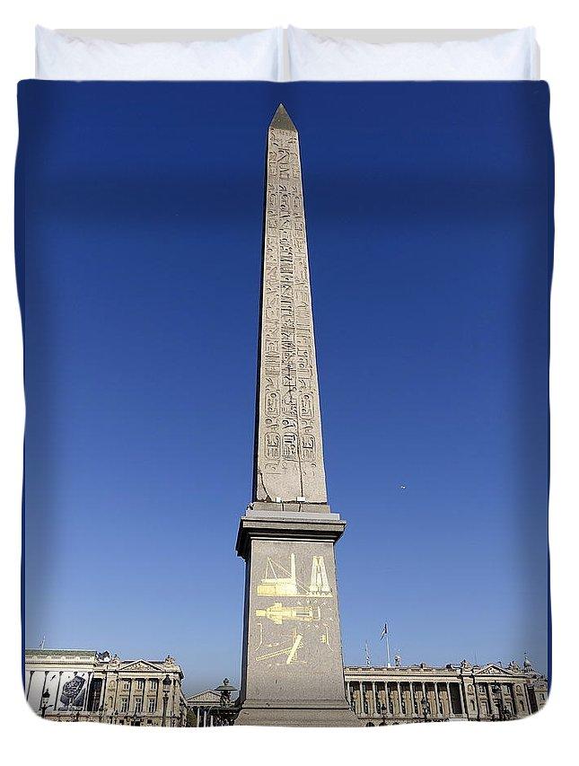 Paris Duvet Cover featuring the photograph Egyptian Obelisk At The Place De La Concorde In Paris France by Richard Rosenshein
