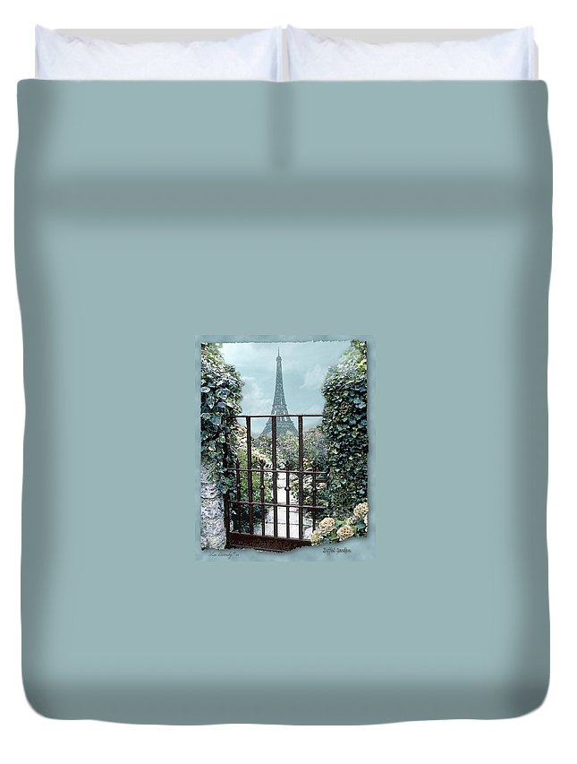 Eiffel Tower Duvet Cover featuring the photograph Eiffel Garden In Blue by Lee Owenby