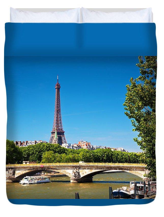 Paris Duvet Cover featuring the photograph Eiffel Tower And Bridge On Seine River In Paris France by Michal Bednarek