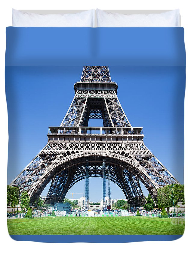 Eiffel Duvet Cover featuring the photograph Eiffel Tower Lower Part Paris by Michal Bednarek