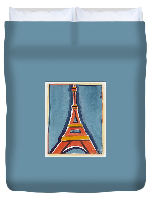 Effel Tower Duvet Cover featuring the painting Eiffel Tower Orange Blue by Robyn Saunders