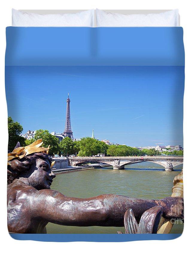 Paris Duvet Cover featuring the photograph Eiffel Tower Paris France by Michal Bednarek