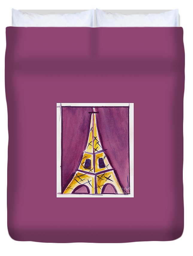 Effel Tower Duvet Cover featuring the painting Eiffel Tower Purple And Yellow by Robyn Saunders