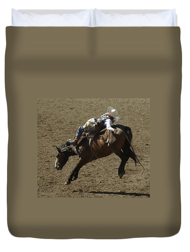 Cowboys Duvet Cover featuring the photograph Eight Long Seconds by Jeff Swan