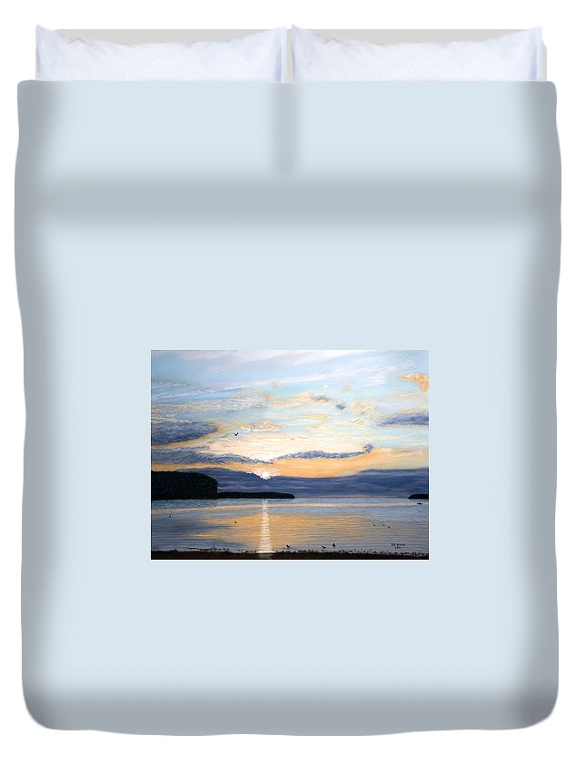 Sunset Duvet Cover featuring the pastel Eileen's Sunset by George Burr