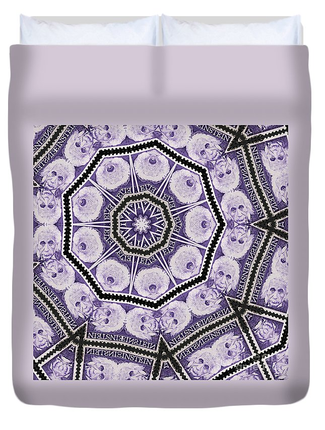 Einstein Duvet Cover featuring the photograph Einstein Mandala by Andy Prendy