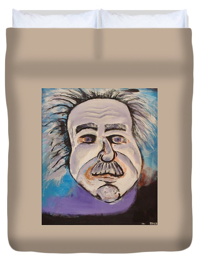 Rick Huotari Duvet Cover featuring the painting Einstein by Rick Huotari