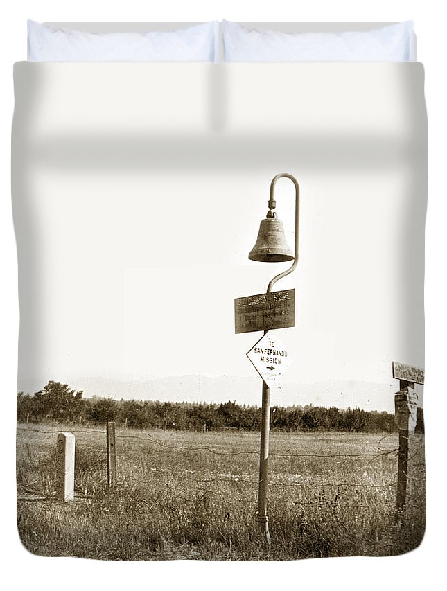 El Camino Real Mission Bell Nea San Fernando Mission Duvet Cover featuring the photograph El Camino Real Mission Bell Near San Fernando Mission California 1906 by California Views Archives Mr Pat Hathaway Archives