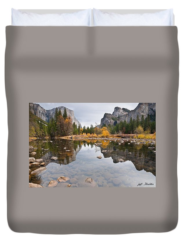 Autumn Duvet Cover featuring the photograph El Capitan Reflected In The Merced River by Jeff Goulden