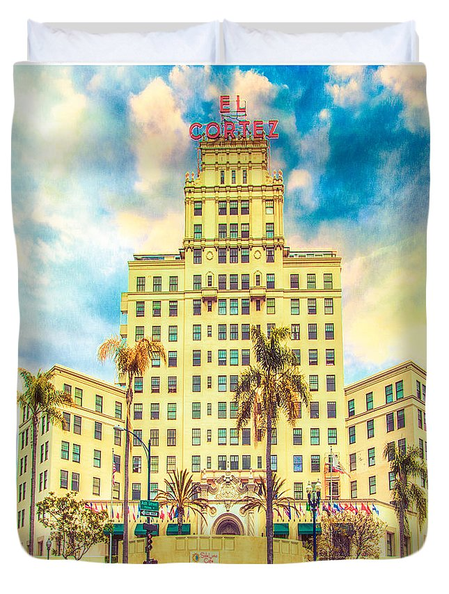 Hotel Duvet Cover featuring the photograph El Cortez by Chris Lord