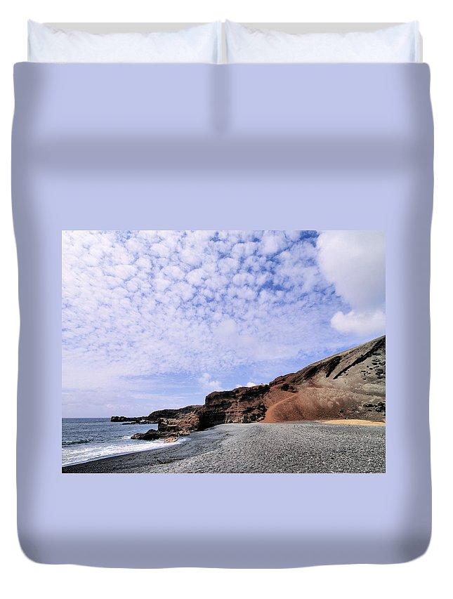 Rocky Beach Duvet Cover featuring the photograph El Golfo On Lanzarote by Karol Kozlowski