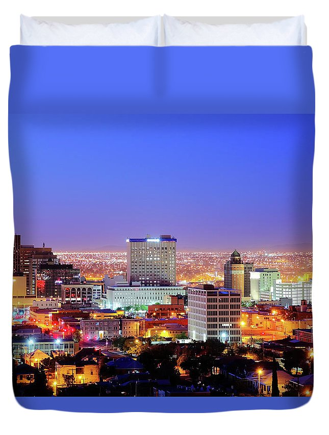Downtown District Duvet Cover featuring the photograph El Paso by Denistangneyjr