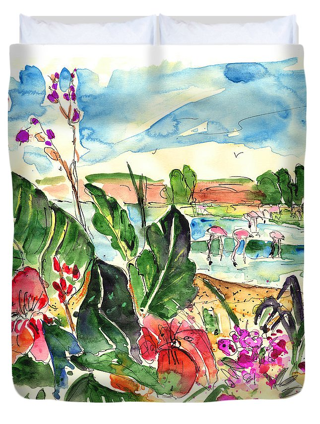 Travel Duvet Cover featuring the painting El Rocio 06 by Miki De Goodaboom