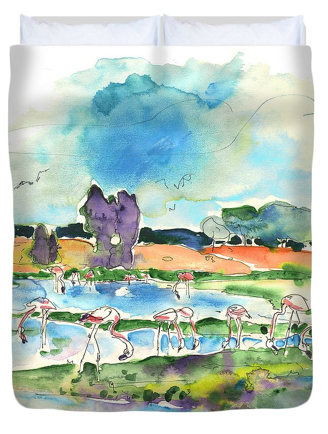 Travel Duvet Cover featuring the painting El Rocio 08 by Miki De Goodaboom