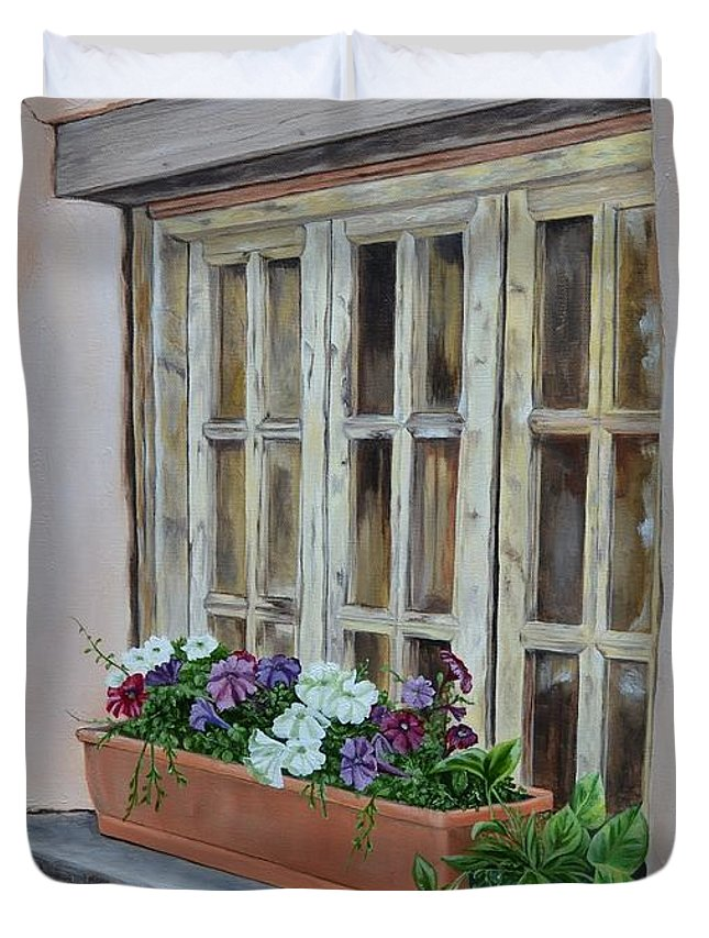 Adobe Duvet Cover featuring the painting Elayne Look Through The Window by Mary Rogers