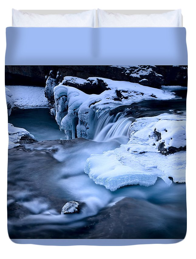 Environment Duvet Cover featuring the photograph Elbow Falls Bragg Creek by Mark Duffy