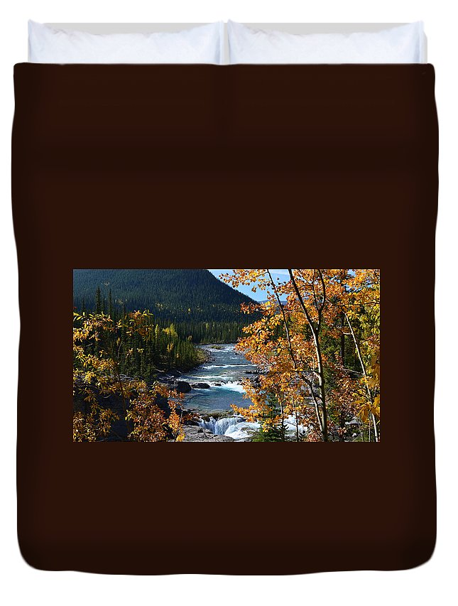 Elbow River Duvet Cover featuring the photograph Elbow River View by Cheryl Miller