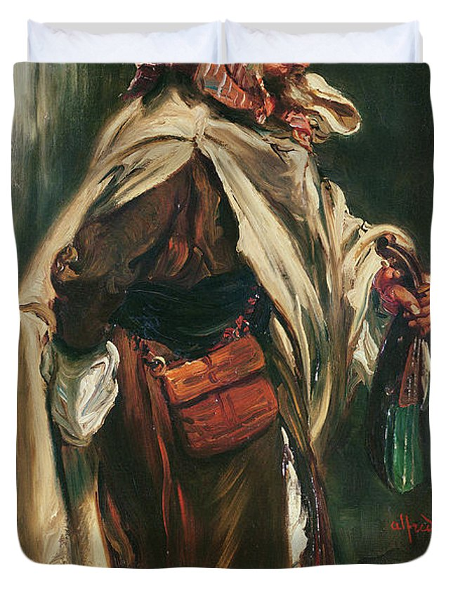 Male Duvet Cover featuring the photograph Elderly Moroccan Jew, 1867 Oil On Canvas by Alfred Dehodencq