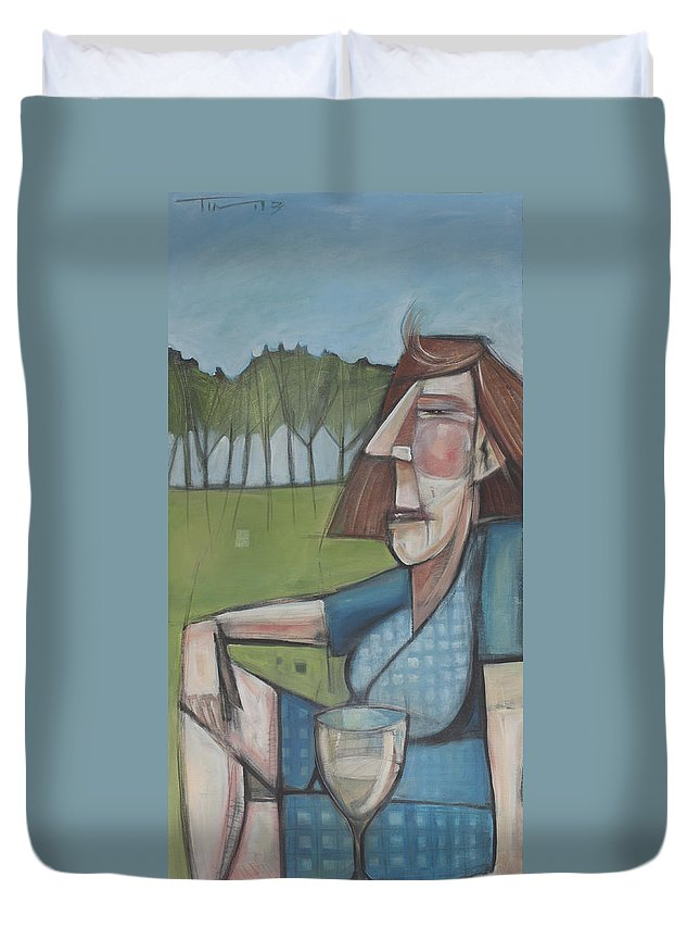 Woman Duvet Cover featuring the painting Eleanor Rigby Avec Chardonnay by Tim Nyberg