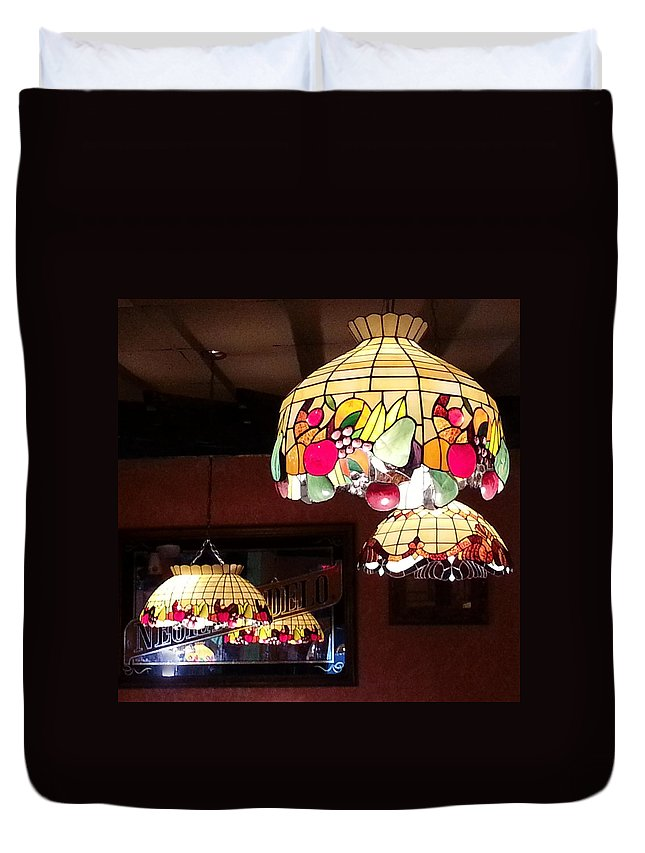Lamp Duvet Cover featuring the photograph Electric Butterflies by Brenda Stevens Fanning