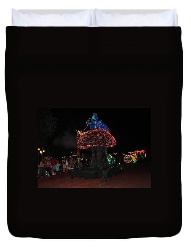Disney World Duvet Cover featuring the photograph Electric Disney by David Nicholls