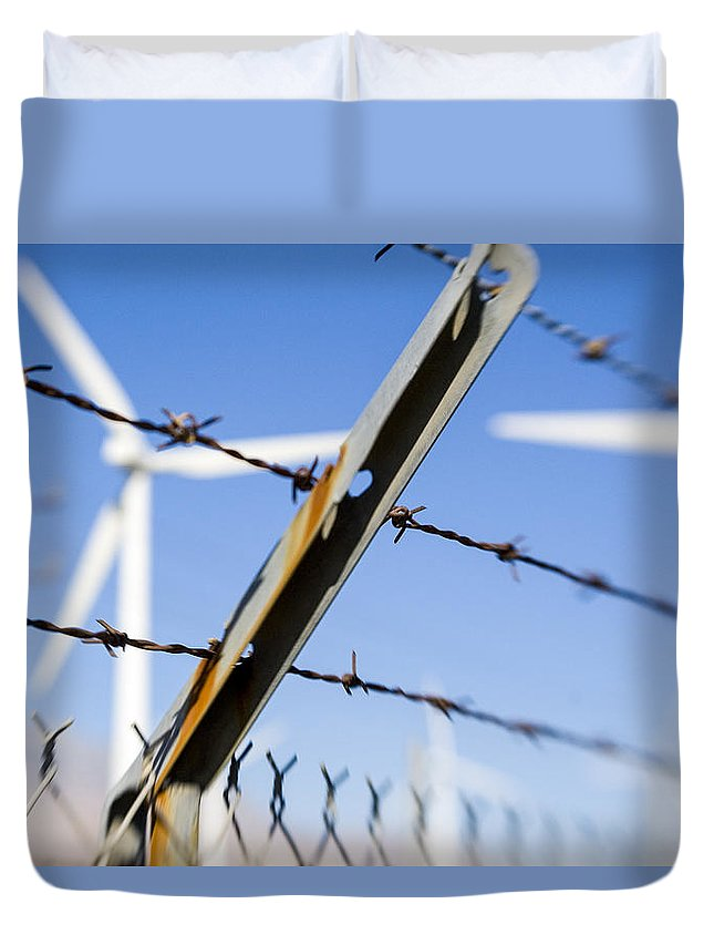 Wind Turbine Duvet Cover featuring the photograph Electric Fence by Scott Campbell