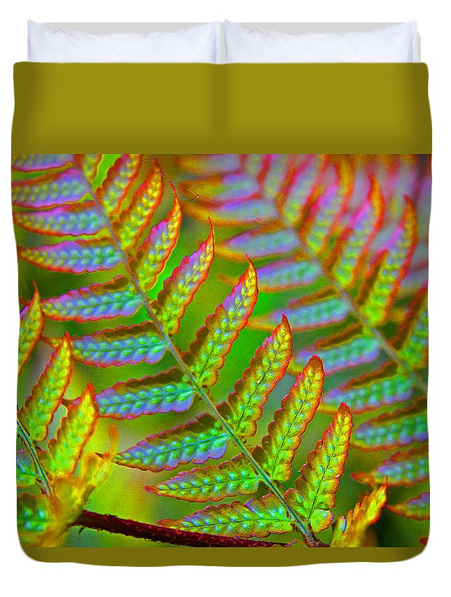 Fern Duvet Cover featuring the photograph Electric Fern by Carolyn Stagger Cokley