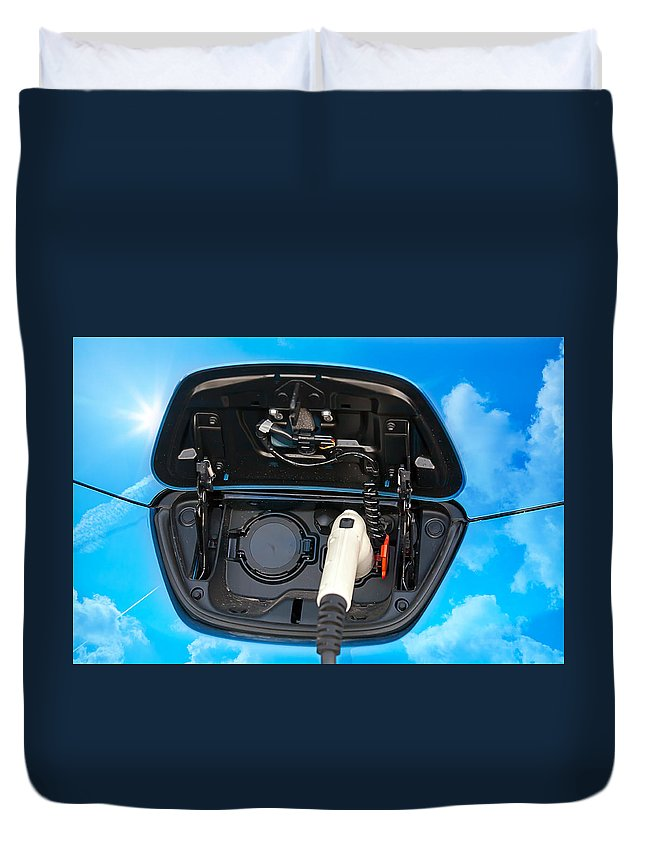 Alternative Duvet Cover featuring the photograph Electric Hybrid Car Charging Socket by Gunter Nezhoda