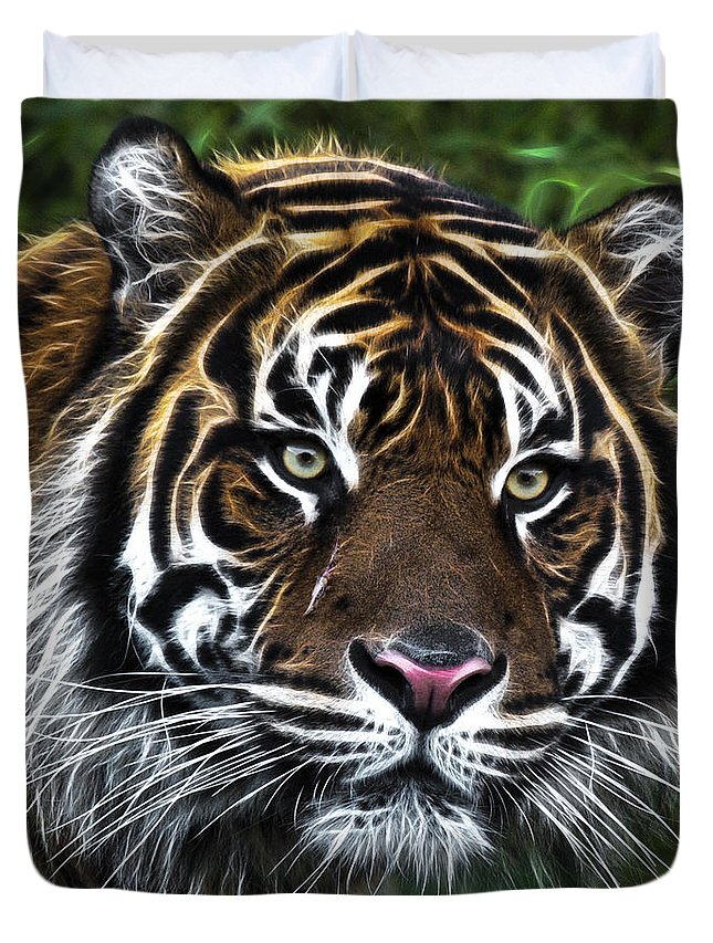 Electric Tiger Duvet Cover featuring the photograph Electric Tiger by Wes and Dotty Weber